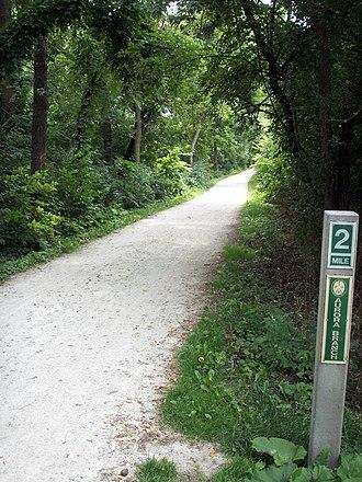 Illinois Prairie Path - 2-mile marker of the Aurora Branch of the Illinois Prairie Path in Wheaton, Illinois.