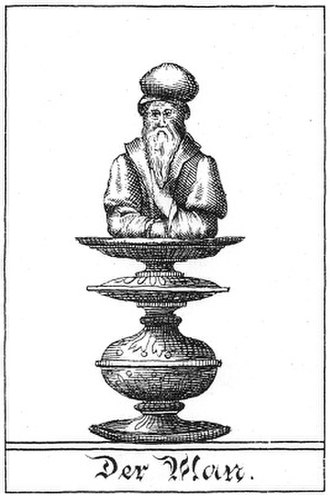 "Mann (chess) - Illustration of the chess piece ""Man"" by Gustav Selenus from the book Das Schach-Oder Konig-Spiel (1616)"