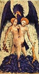 Una miniatura del manoscritto Aurora consurgens di una stampa risalente al XV secolo (ermafrodito simboleggiante la dualità dello stato solido e gassoso)[22]