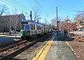 Inbound train passing Dean Road station (1), December 2018.JPG