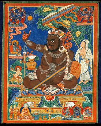 Virupa, 16th century. It depicts a famous episode in his hagiography when he stopped the sun in the sky. Indian Adept (siddha) - Virupa 16 century Private coll..jpg