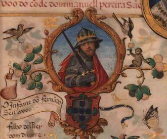 Ferdinand, Duke of Viseu - Ferdinand in a 1534 miniature in the Genealogy of D. Manuel Pereira, 3rd Count of Feira.
