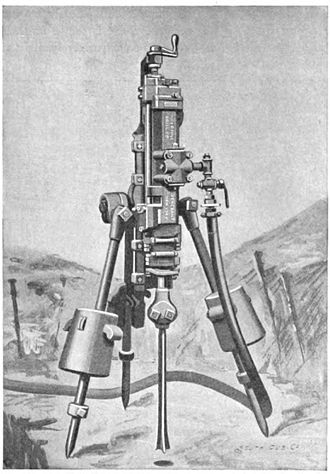 Ingersoll-Rand - Ingersoll-Sergeant steam drill used in mining in the late 1800s