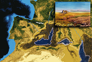 Messinian salinity crisis - Artistic interpretation of the Mediterranean geography during its evaporative drawdown, after complete disconnection from the Atlantic. The rivers carved deep gorges in the exposed continental margins; The concentration of salt in the remaining water bodies led to rapid precipitation. The inset evokes the transit of mammals (e.g., camels and mice) from Africa to Iberia across the exposed Gibraltar Strait.
