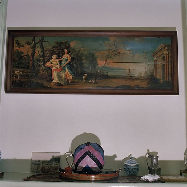 File:Interieur, detail rechter achterkamer- olieverfschilderij aan de muur, binnen de wandbetimmering - Glimmen - 20380192 - RCE.jpg