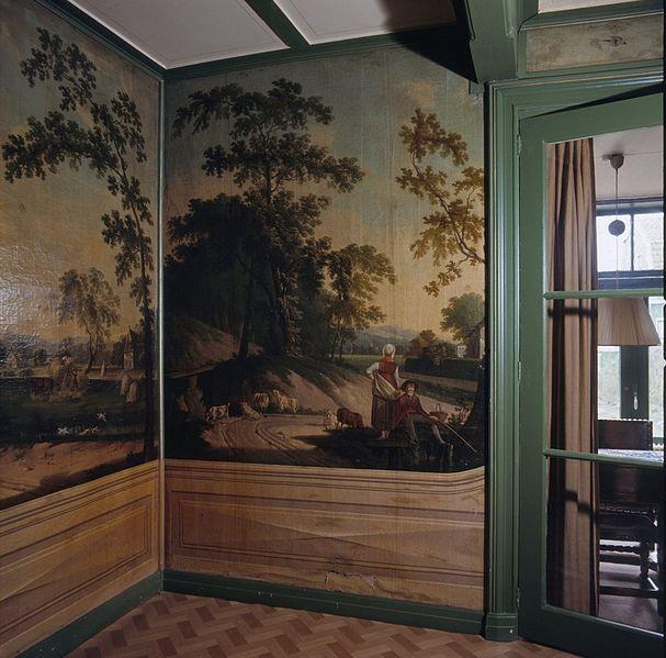 File interieur woonkamer met geschilderd behang for Interieur 607