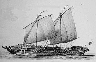 Iranun people - 1890 illustration by Rafael Monleón of a late 18th-century Iranun lanong warship