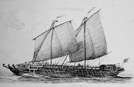 1890 illustration by Rafael Monleon of a late 18th-century Iranun lanong warship which were used in piracy and slave raids Iranun lanong warship by Rafael Monleon (1890).jpg