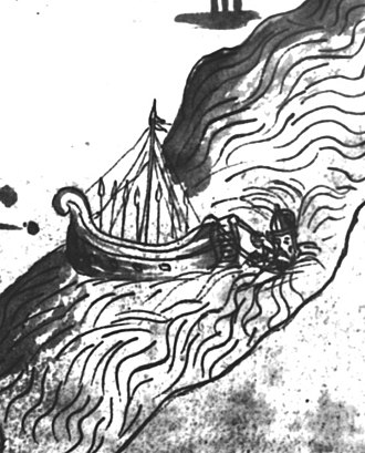 Siberian Chronicles - Yermak drowning in the Irtysh River, a miniature from the Remezov Chronicle