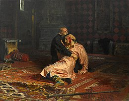 Painting of Ivan the Terrible weeping over the tsarevich Ivan, his injured son