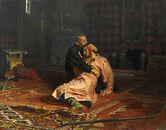 Time of Troubles - Ilya Repin's Ivan the Terrible and His Son Ivan (1885) depicting the accidental murder of Tsarevich Ivan Ivanovich by his father Ivan the Terrible, which made Feodor I heir to the Russian throne.