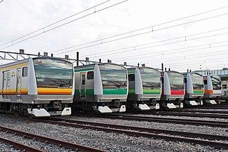 E233 series - A line-up of six different E233 series variants in October 2015 (left to right: Nambu Line E233-8000, Saikyo Line E233-7000, Yokohama Line E233-6000, Keiyo Line E233-5000, Takasaki Line E233-3000, Chuo Line E233-0 series)