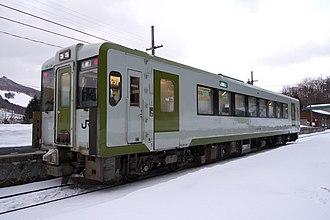 Yamada Line (JR East) - A KiHa 110 series DMU car on the Yamada Line in March 2012