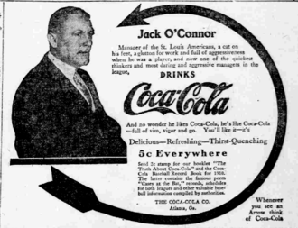 Jack O'Connor (catcher) - Jack O'Connor in a Coca-Cola ad from 1910, as manager of the St. Louis Browns
