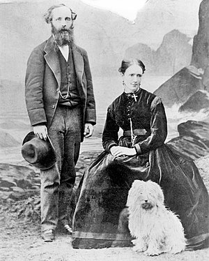 Katherine Clerk Maxwell - An image showing Katherine Clerk Maxwell (seated), with her husband James Clerk Maxwell and the couple's dog Toby.