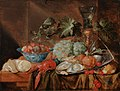 Jan van den Hecke - Still life of fruit, a lobster, oysters and a rummer on a table.jpg