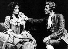 Seymour (Constanze Mozart) alongside Ian McKellen (Antonio Salieri) in Amadeus, c. 1981