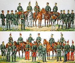 c751a05b4bb The Imperial Japanese Army in 1900. Uniform colour should be dark-blue not  grey-green as pictured in this faded print.