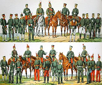 Uniforms of the Imperial Japanese Army - The Imperial Japanese Army in 1900. Uniform colour should be dark-blue not grey-green as pictured in this faded print.