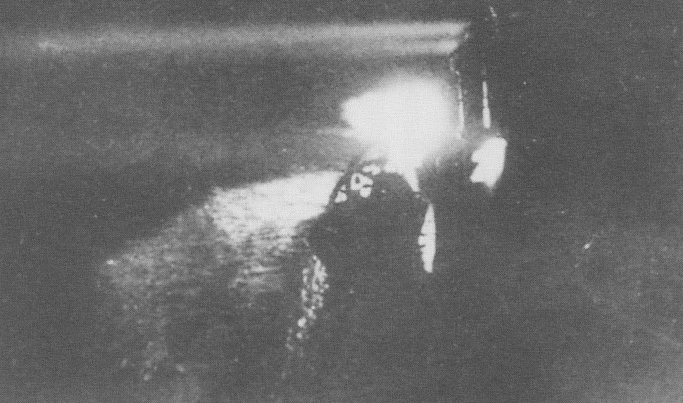 Japanese cruiser Yubari shines searchlights during the Battle of Savo Island on 9 August 1942