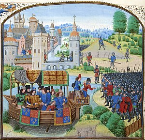 History of labour law in the United Kingdom - Richard II meets the Peasants' Revolt rebels in a painting from Froissart's Chronicles.