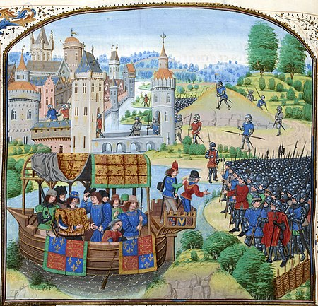 Richard II meets the rebels on 13 June 1381 in a miniature from a 1470s copy of Jean Froissart's Chronicles. (Wikipedia)