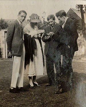 Duncan Grant - Lady Ottoline Morrell (1873-1938), vintage snapshot print/NPG Ax141298. Jean de Menasce; Vanessa Bell (née Stephen); Duncan Grant; Eric Siepmann, 1922