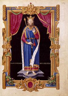 Jean Du Tillet, Clovis Ier roy crestien. Recueil des rois de France. Portrait du XVIème siècle réalisée d'après le gisant de l'église Sainte Geneviève.