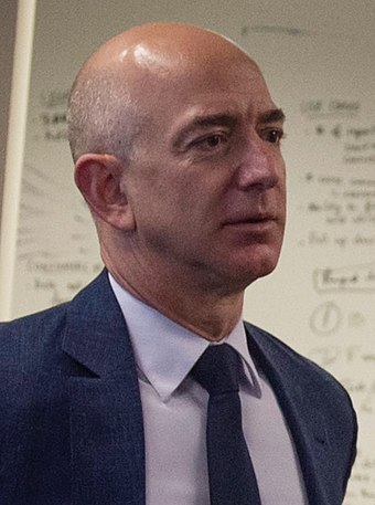 American internet entrepreneur who is the founder of company Amazon, Jeff Bezos, who as of April 2020 is ranked the wealthiest person in the world. Jeff Bezos 2016.jpg