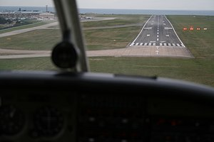 English: Aerial view of Jersey airport runway ...