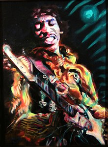 Jimi Hendrix Guitar On Fire Painting