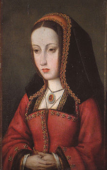 A lady with a long, thin face wearing red robes and a hood in the style of a nun.
