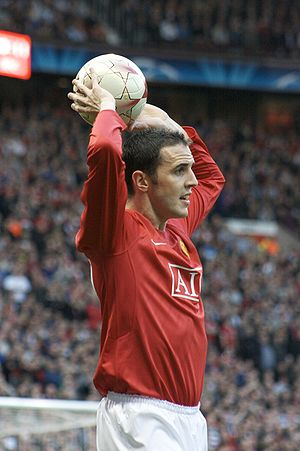 John O'Shea - O'Shea playing in the 2008–09 UEFA Champions League semi-final against Arsenal when he helped his team to the 2009 UEFA Champions League Final