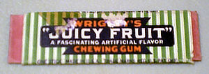 "Juicy Fruit - A Juicy Fruit wrapper from 1946, described on the package as a ""fascinating artificial flavor""."