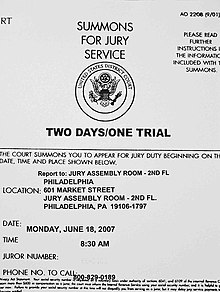 Picture of a jury summons