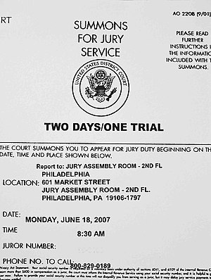 Citizenship of the United States - U.S. citizens may be summoned to serve on a jury.