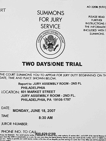 U.S. citizens may be summoned to serve on a jury. Jury summons.jpg
