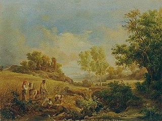 Landschaft mit Heuernte