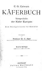 Käferbuch. Naturgeschichte der Käfer Europas.