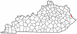 Location of Warfield, Kentucky