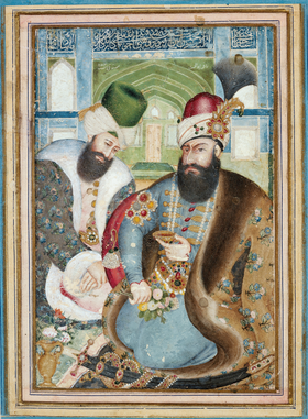 Karim Khan Zand with the Ottoman Ambassador Vehbi Effendi.png