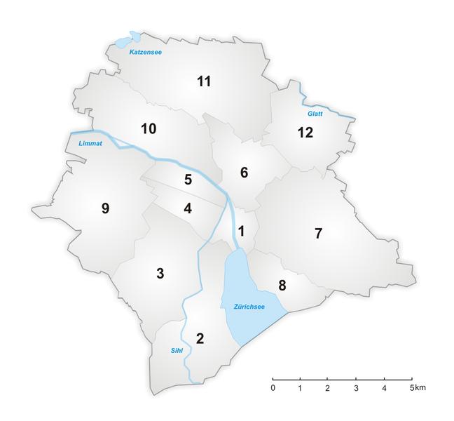 Zürih haritası ve bölgeleri (Kreis (District))