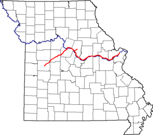 English: A map of Missouri showing the route a...