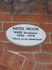 Keith Moon's plaque at Golders Green Crematorium