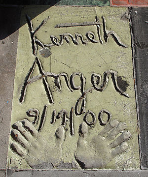 Kenneth Anger - Signature and handprints of Kenneth Anger in front of the Vista Theatre, Los Angeles