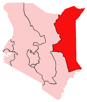 Location of North Eastern Province in Kenya