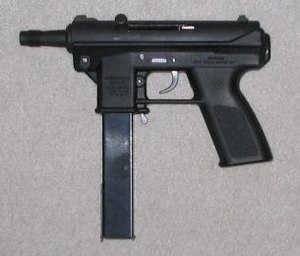 Federal Assault Weapons Ban - An Intratec TEC-DC9 with 32-round magazine; a semi-automatic pistol formerly classified as an assault weapon under federal law.