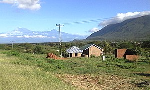 Pare people - Mt. Kilimanjaro on the left and the start of the Pare mountains on the right