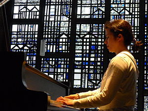 Kimiko Douglass-Ishizaka - Kimiko playing in the Trinitatis Church, Bonn, Germany.