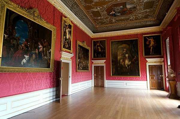 Paintings in the King's Gallery, Kensington Palace. Left to right: The Adoration of the Kings, studio of Paolo Veronese (c. 1573–1666)[1] Venus and Adonis Embracing, Italian School (c. 1580–1620)[2] The Flood, Jacopo Bassano (c. 1570)[3] Diligence, Italian School (c. 1530)[4] Charles I with M. de St Antoine, after Anthony van Dyck (1700s)[5] Fame, Italian School (c. 1530)[6]